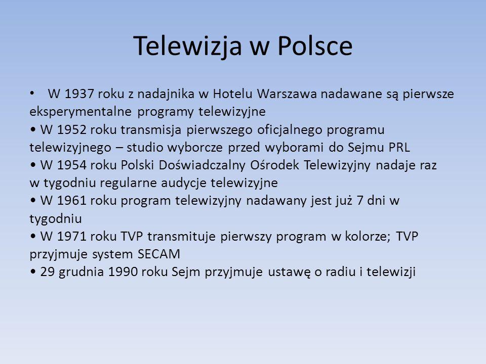 Telewizja w Polsce W 1937 roku z nadajnika w Hotelu Warszawa nadawane są pierwsze eksperymentalne programy telewizyjne W 1952 roku transmisja pierwsze