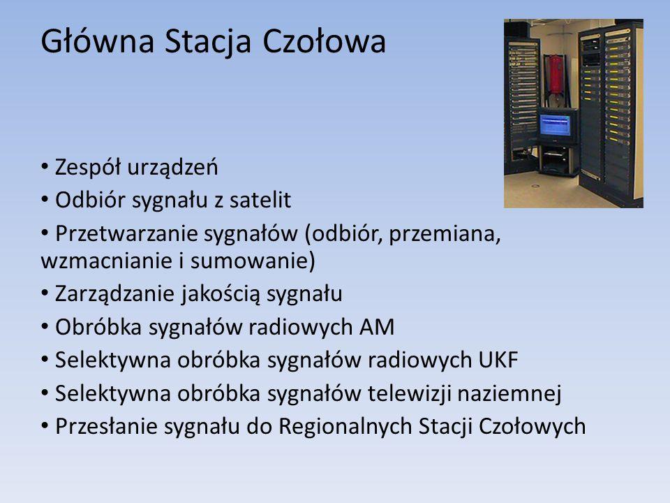 Główna Stacja Czołowa Zespół urządzeń Odbiór sygnału z satelit Przetwarzanie sygnałów (odbiór, przemiana, wzmacnianie i sumowanie) Zarządzanie jakości