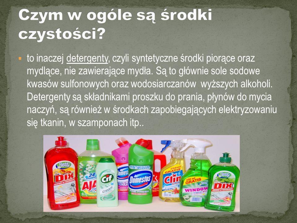 to inaczej detergenty, czyli syntetyczne środki piorące oraz mydlące, nie zawierające mydła. Są to głównie sole sodowe kwasów sulfonowych oraz wodosia