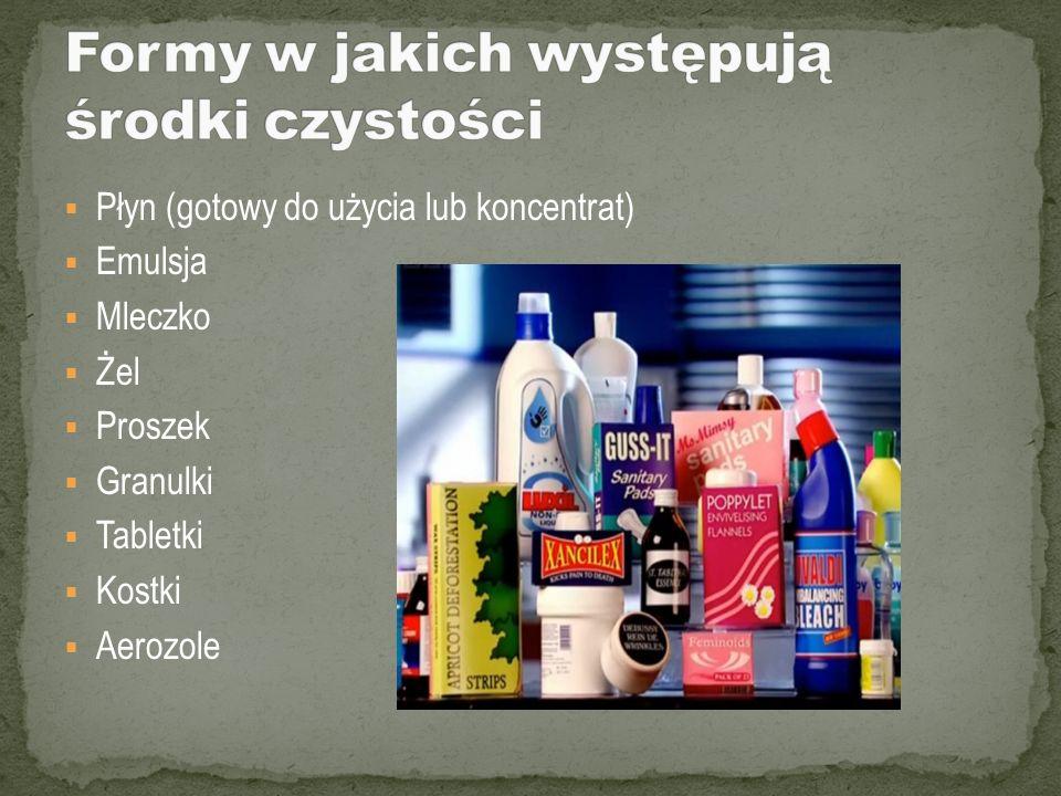 Płyn (gotowy do użycia lub koncentrat) Emulsja Mleczko Żel Proszek Granulki Tabletki Kostki Aerozole