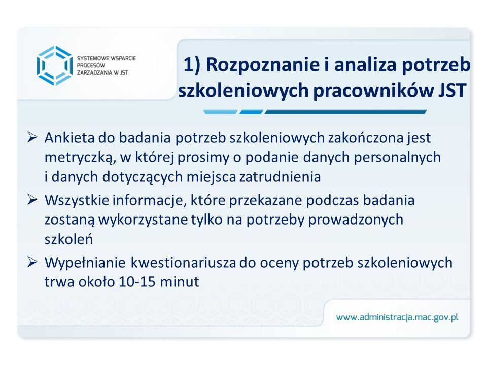 1) Rozpoznanie i analiza potrzeb szkoleniowych pracowników JST Ankieta do badania potrzeb szkoleniowych zakończona jest metryczką, w której prosimy o