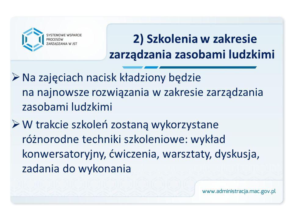 2) Szkolenia w zakresie zarządzania zasobami ludzkimi Na zajęciach nacisk kładziony będzie na najnowsze rozwiązania w zakresie zarządzania zasobami lu