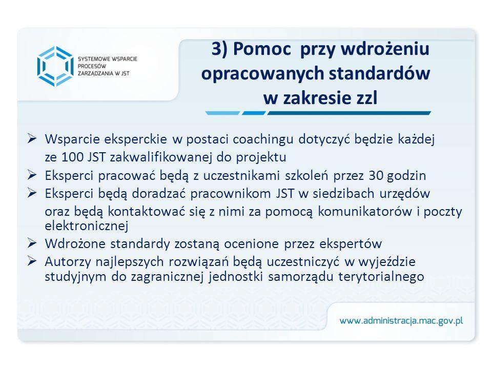 3) Pomoc przy wdrożeniu opracowanych standardów w zakresie zzl Wsparcie eksperckie w postaci coachingu dotyczyć będzie każdej ze 100 JST zakwalifikowa