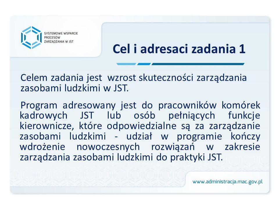 Cel i adresaci zadania 1 Celem zadania jest wzrost skuteczności zarządzania zasobami ludzkimi w JST. Program adresowany jest do pracowników komórek ka