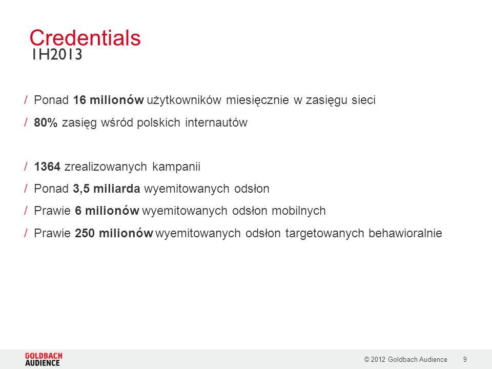 © 2012 Goldbach Audience9 /Ponad 16 milionów użytkowników miesięcznie w zasięgu sieci /80% zasięg wśród polskich internautów /1364 zrealizowanych kampanii /Ponad 3,5 miliarda wyemitowanych odsłon /Prawie 6 milionów wyemitowanych odsłon mobilnych /Prawie 250 milionów wyemitowanych odsłon targetowanych behawioralnie Credentials 1H2013