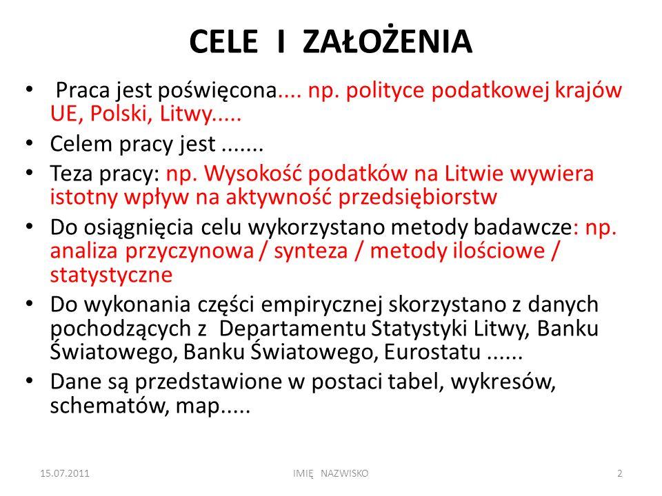 CELE I ZAŁOŻENIA Praca jest poświęcona.... np. polityce podatkowej krajów UE, Polski, Litwy.....