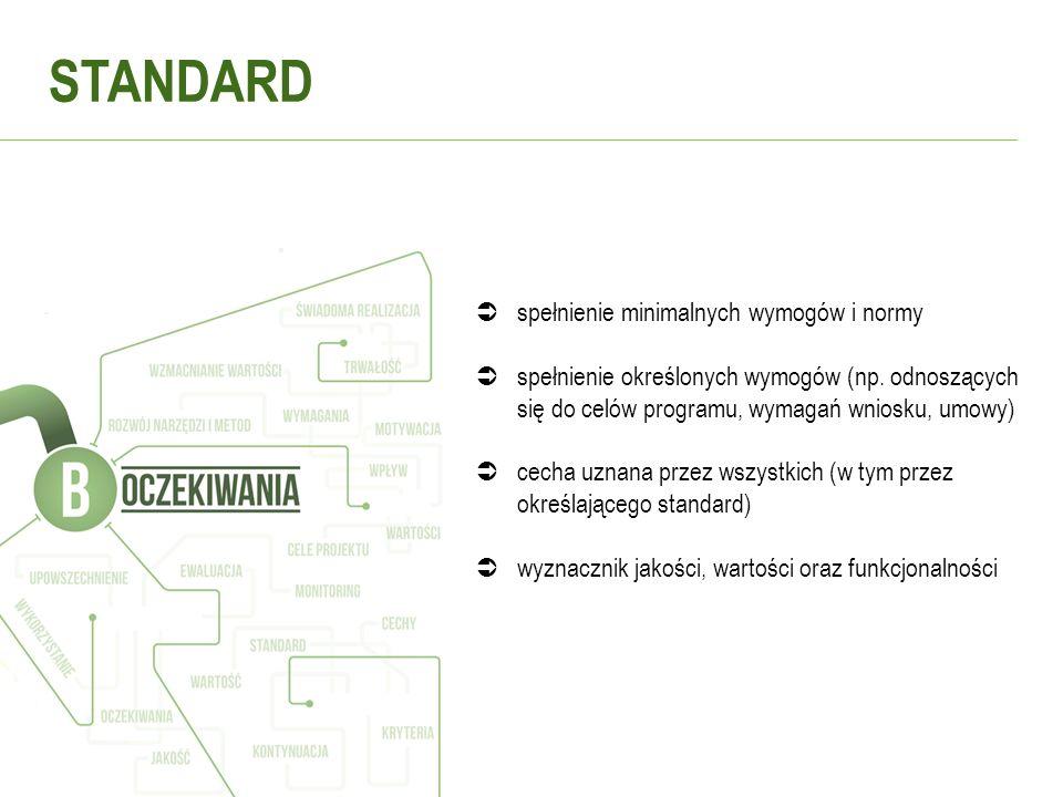 STANDARD spełnienie minimalnych wymogów i normy spełnienie określonych wymogów (np. odnoszących się do celów programu, wymagań wniosku, umowy) cecha u