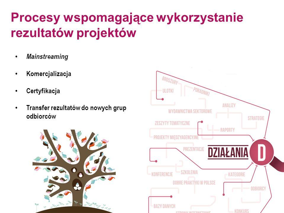 Procesy wspomagające wykorzystanie rezultatów projektów Mainstreaming Komercjalizacja Certyfikacja Transfer rezultatów do nowych grup odbiorców