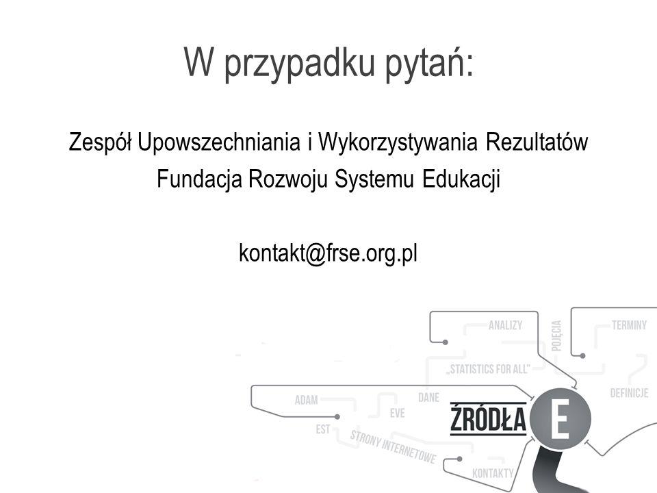 W przypadku pytań: Zespół Upowszechniania i Wykorzystywania Rezultatów Fundacja Rozwoju Systemu Edukacji kontakt@frse.org.pl