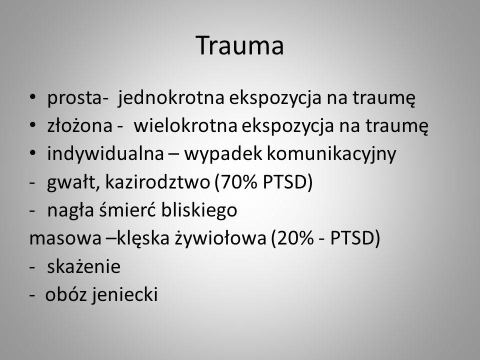 Trauma prosta- jednokrotna ekspozycja na traumę złożona - wielokrotna ekspozycja na traumę indywidualna – wypadek komunikacyjny -gwałt, kazirodztwo (7