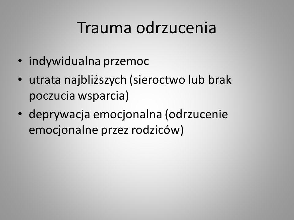 Trauma odrzucenia indywidualna przemoc utrata najbliższych (sieroctwo lub brak poczucia wsparcia) deprywacja emocjonalna (odrzucenie emocjonalne przez