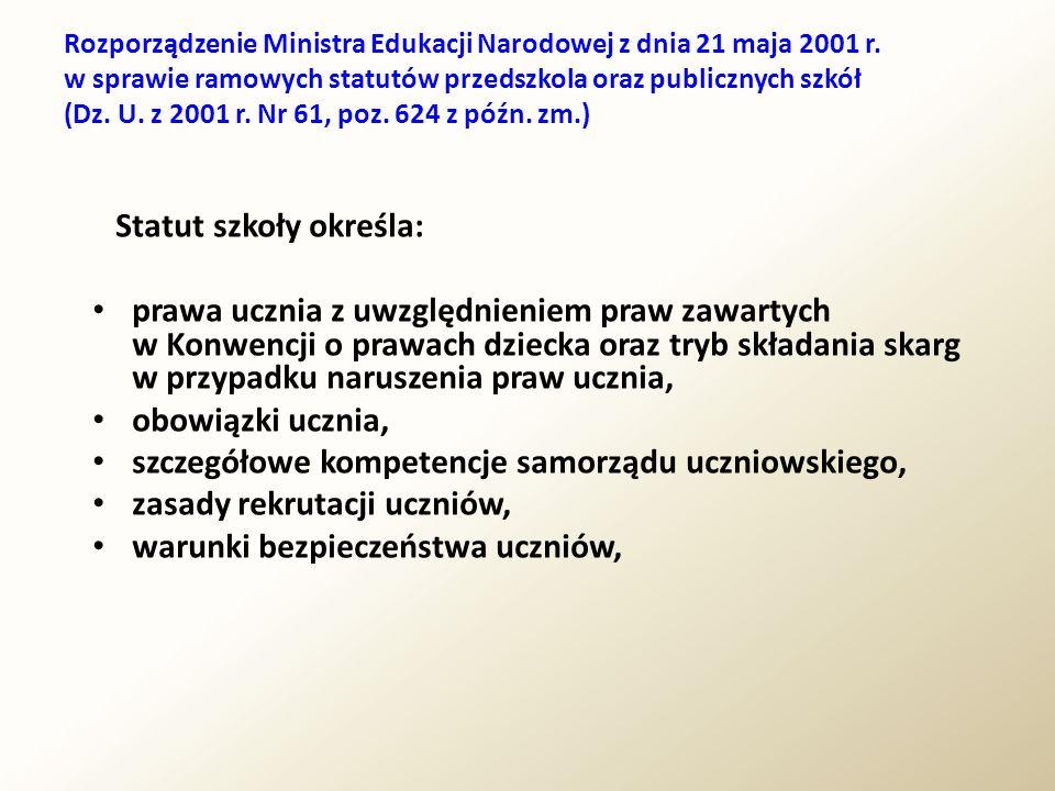 Rozporządzenie Ministra Edukacji Narodowej z dnia 21 maja 2001r.
