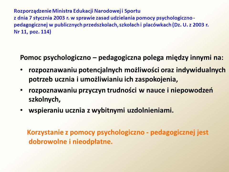 Rozporządzenie Ministra Edukacji Narodowej i Sportu z dnia 7 stycznia 2003 r. w sprawie zasad udzielania pomocy psychologiczno - pedagogicznej w publi