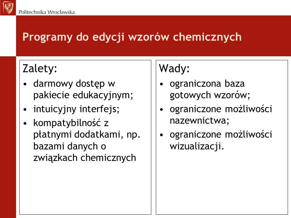 Programy do edycji wzorów chemicznych Zalety: darmowy dostęp w pakiecie edukacyjnym; intuicyjny interfejs; kompatybilność z płatnymi dodatkami, np. ba