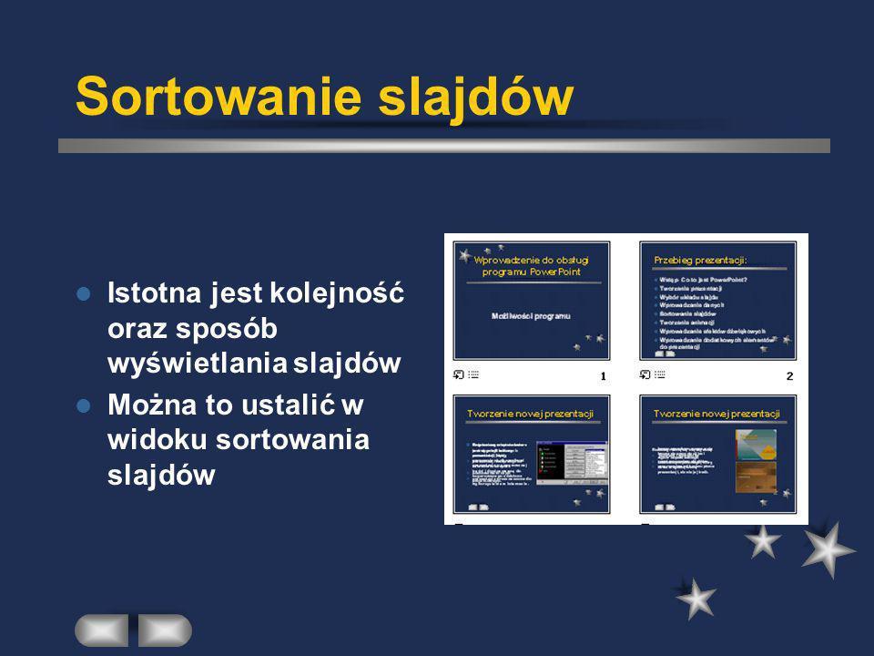 Sortowanie slajdów Istotna jest kolejność oraz sposób wyświetlania slajdów Można to ustalić w widoku sortowania slajdów