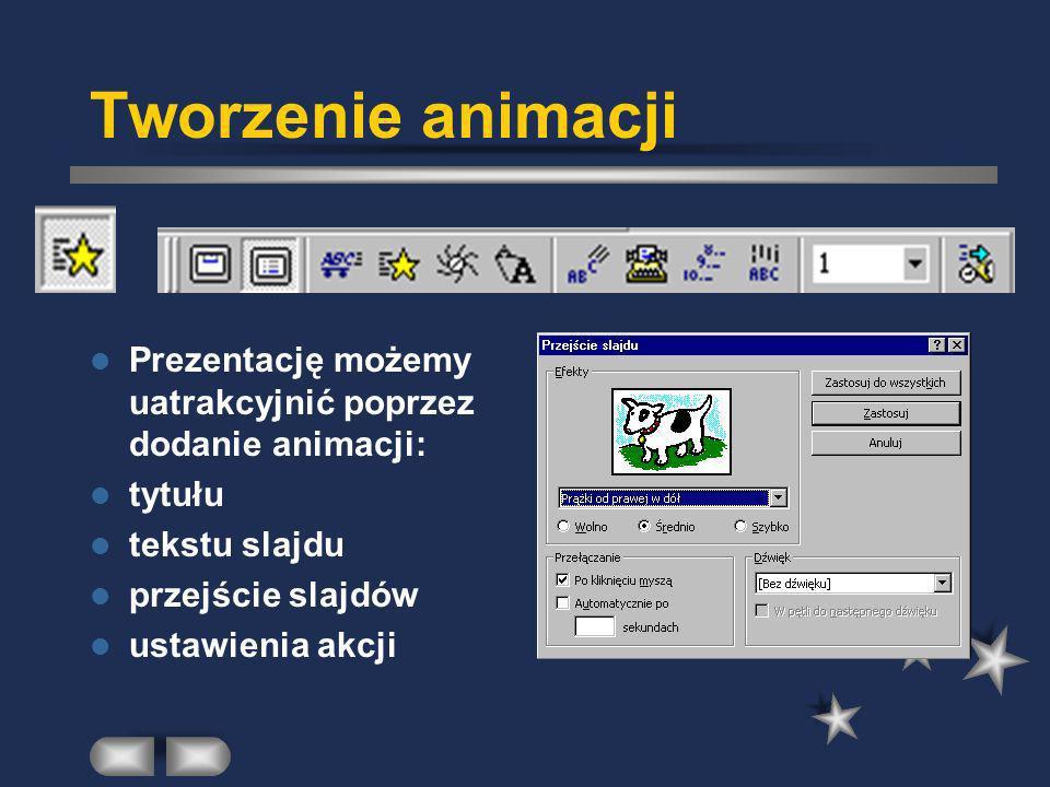 Tworzenie animacji Prezentację możemy uatrakcyjnić poprzez dodanie animacji: tytułu tekstu slajdu przejście slajdów ustawienia akcji