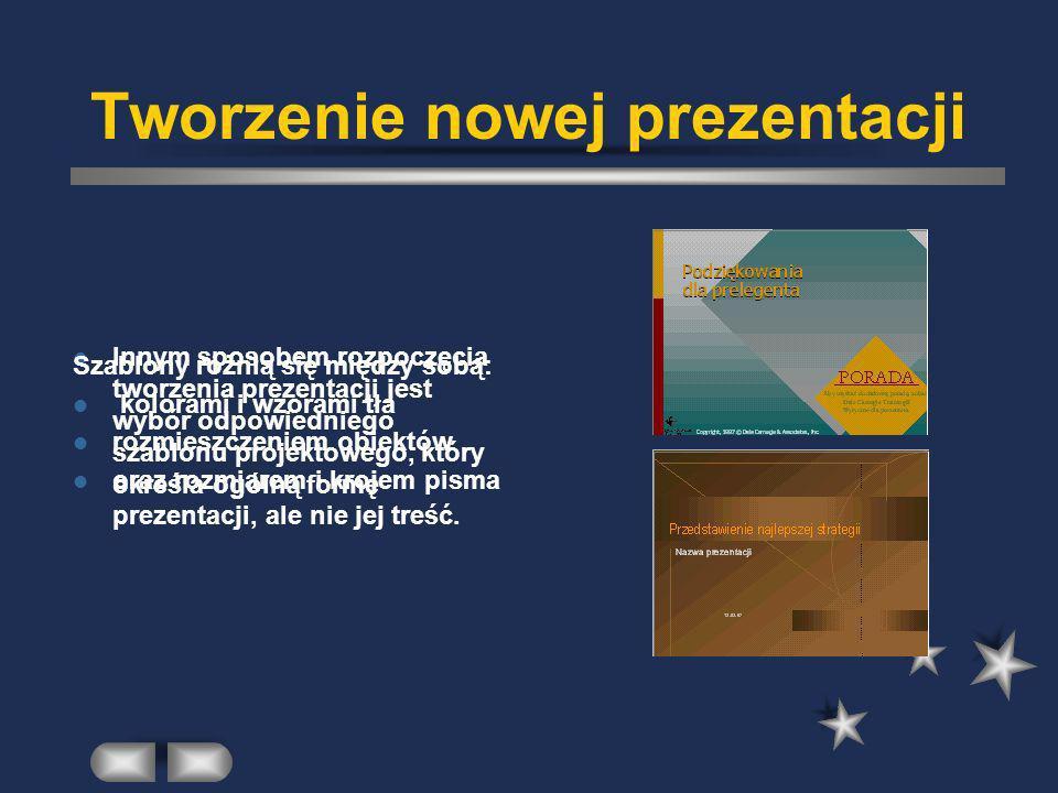 Tworzenie nowej prezentacji Prezentację można utworzyć ponadto: na podstawie konspektu importowanego z innej aplikacji (na przykład Word) lub rozpoczynając pracę od pustej prezentacji, która nie zawiera żadnej treści.