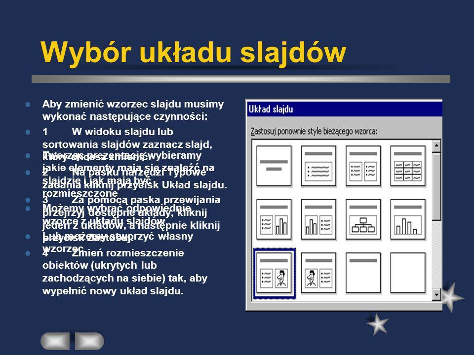 Wybór układu slajdów Aby zmienić wzorzec slajdu musimy wykonać następujące czynności: 1W widoku slajdu lub sortowania slajdów zaznacz slajd, który chc