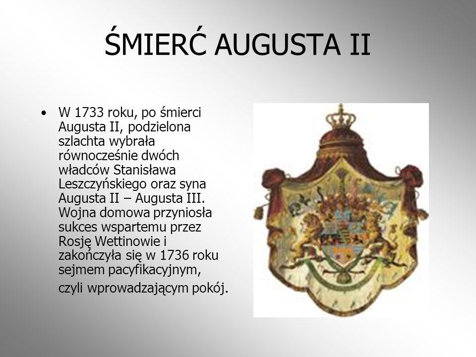 SEJM NIEMY Po kilkuletniej wojnie domowej, w 1717 roku obradujący pod naciskiem Rosji tak zwany sejm walny zatwierdził wcześniej ustaloną ugodę oraz k