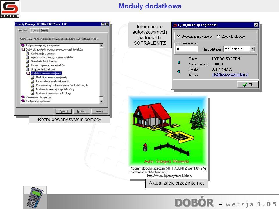 Informacje o autoryzowanych partnerach SOTRALENTZ Rozbudowany system pomocy Moduły dodatkowe Aktualizacje przez internet