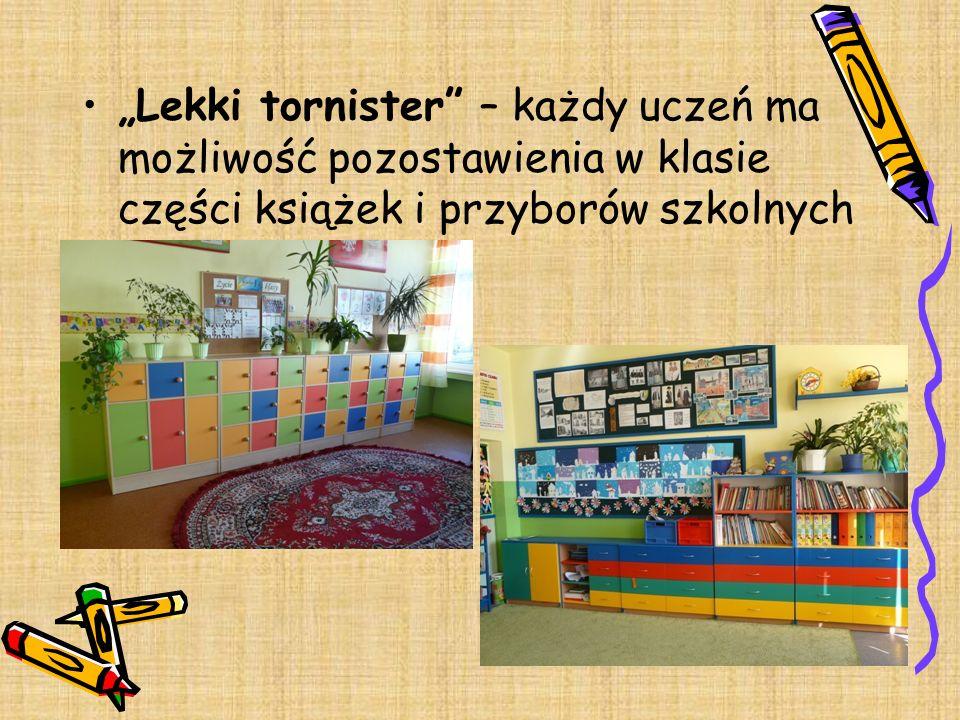 Lekki tornister – każdy uczeń ma możliwość pozostawienia w klasie części książek i przyborów szkolnych