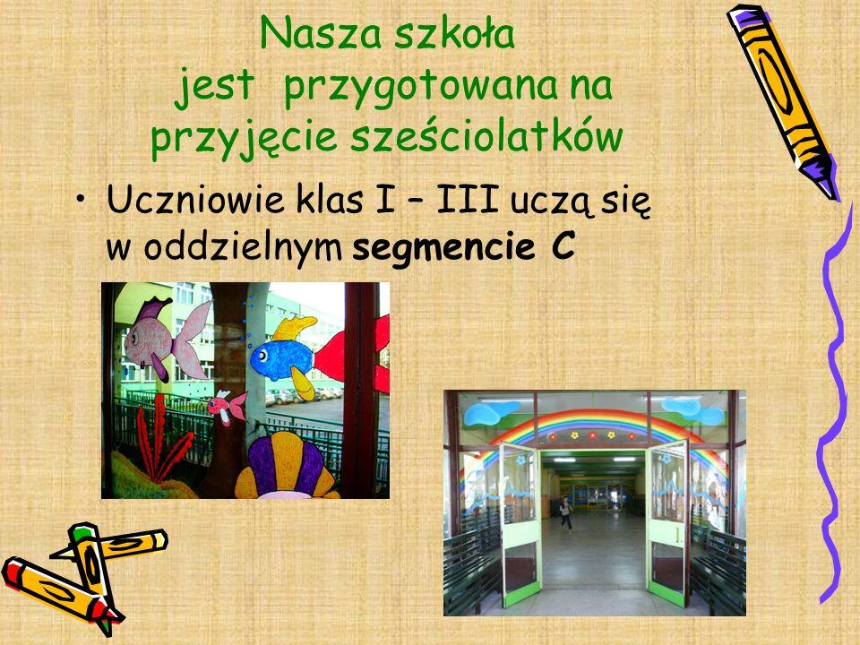 Nasza szkoła jest przygotowana na przyjęcie sześciolatków Uczniowie klas I – III uczą się w oddzielnym segmencie C