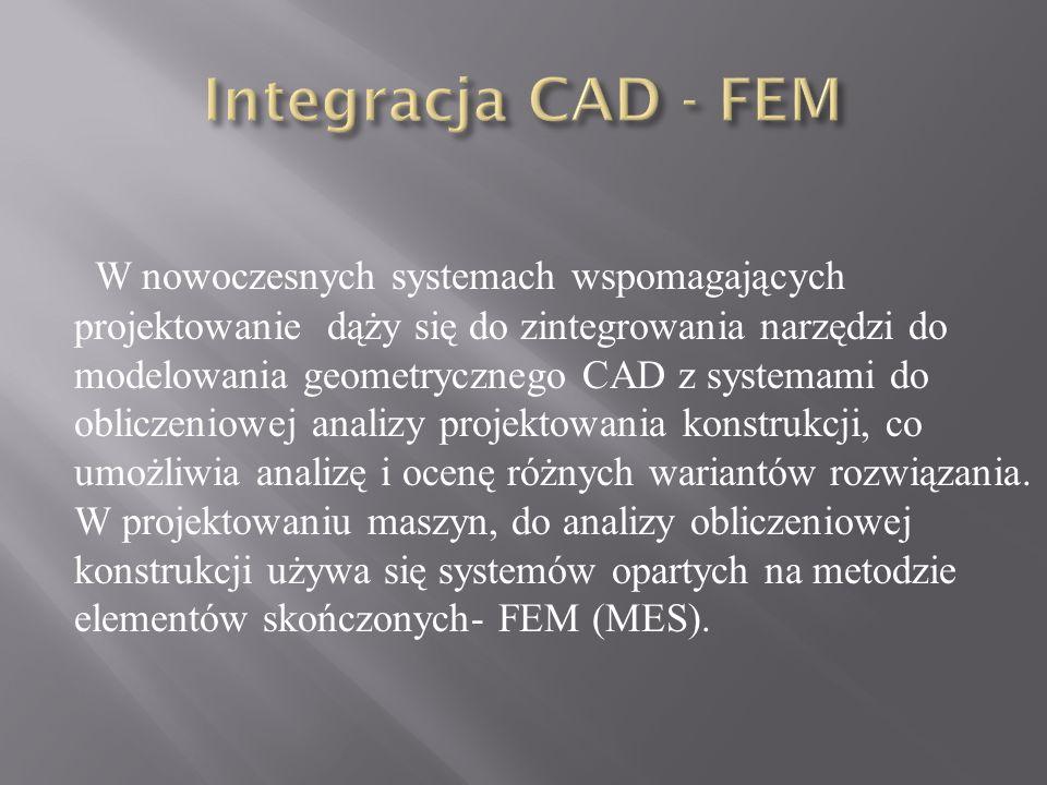 W nowoczesnych systemach wspomagających projektowanie dąży się do zintegrowania narzędzi do modelowania geometrycznego CAD z systemami do obliczeniowe