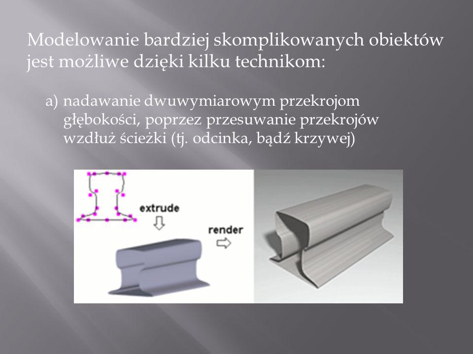 Modelowanie bardziej skomplikowanych obiektów jest możliwe dzięki kilku technikom: a)nadawanie dwuwymiarowym przekrojom głębokości, poprzez przesuwani