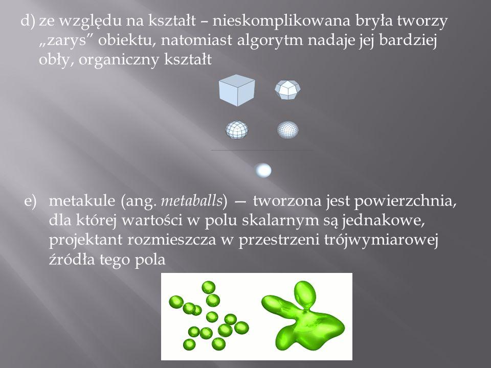 d)ze względu na kształt – nieskomplikowana bryła tworzy zarys obiektu, natomiast algorytm nadaje jej bardziej obły, organiczny kształt e)metakule (ang
