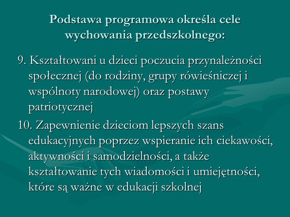 Podstawa programowa określa cele wychowania przedszkolnego: 9. Kształtowani u dzieci poczucia przynależności społecznej (do rodziny, grupy rówieśnicze