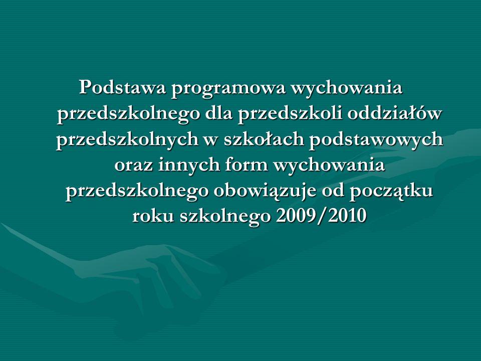 Podstawa programowa wychowania przedszkolnego dla przedszkoli oddziałów przedszkolnych w szkołach podstawowych oraz innych form wychowania przedszkoln