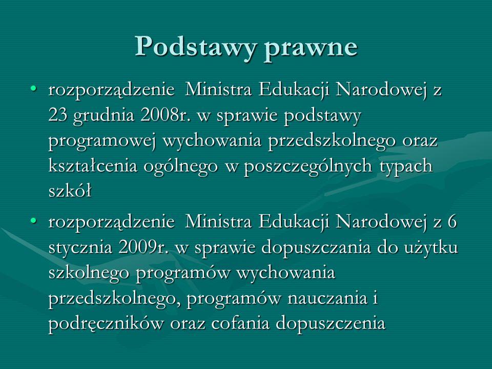 Podstawy prawne rozporządzenie Ministra Edukacji Narodowej z 23 grudnia 2008r. w sprawie podstawy programowej wychowania przedszkolnego oraz kształcen