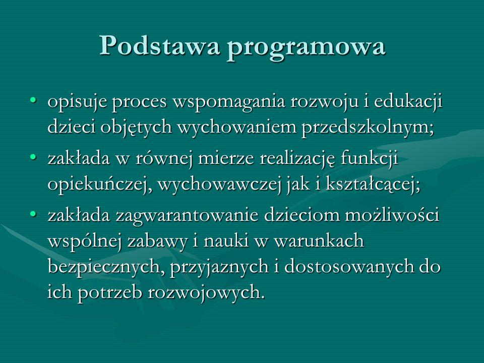 Podstawa programowa opisuje proces wspomagania rozwoju i edukacji dzieci objętych wychowaniem przedszkolnym;opisuje proces wspomagania rozwoju i eduka