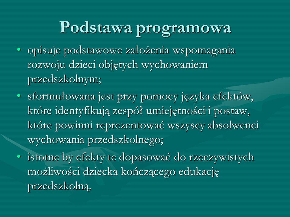 Podstawa programowa opisuje podstawowe założenia wspomagania rozwoju dzieci objętych wychowaniem przedszkolnym;opisuje podstawowe założenia wspomagani