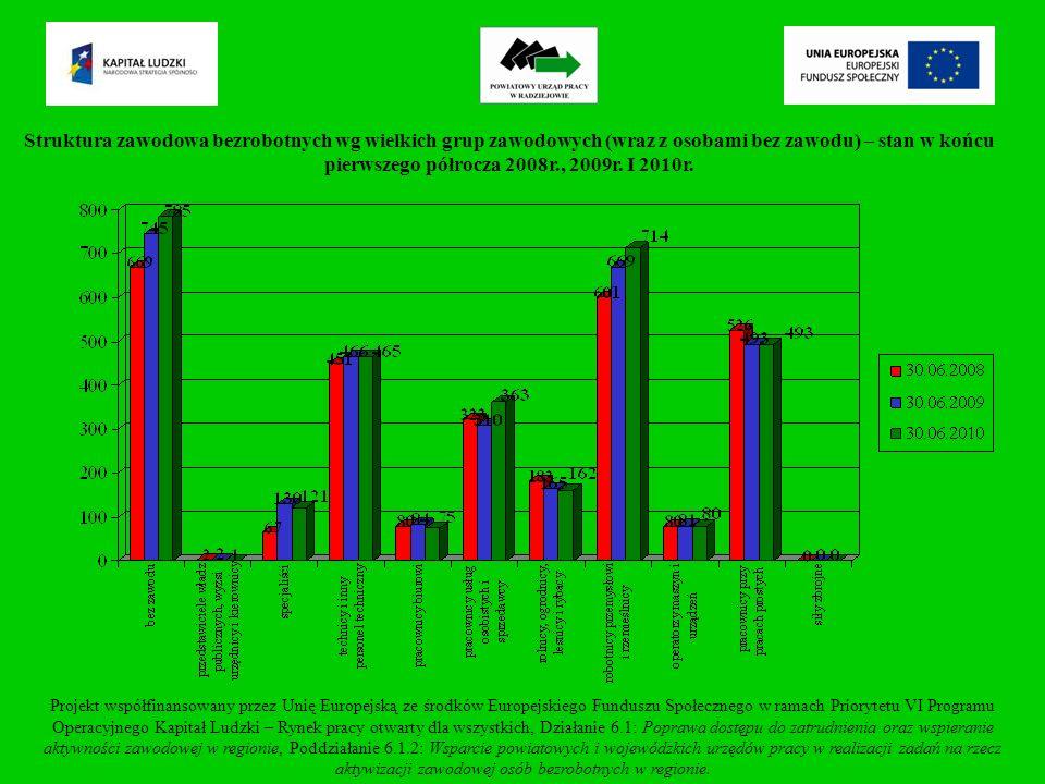 Bezrobotni według grup zawodów (zawody dominujące) – stan w końcu I półrocza 2008r., 2009r.
