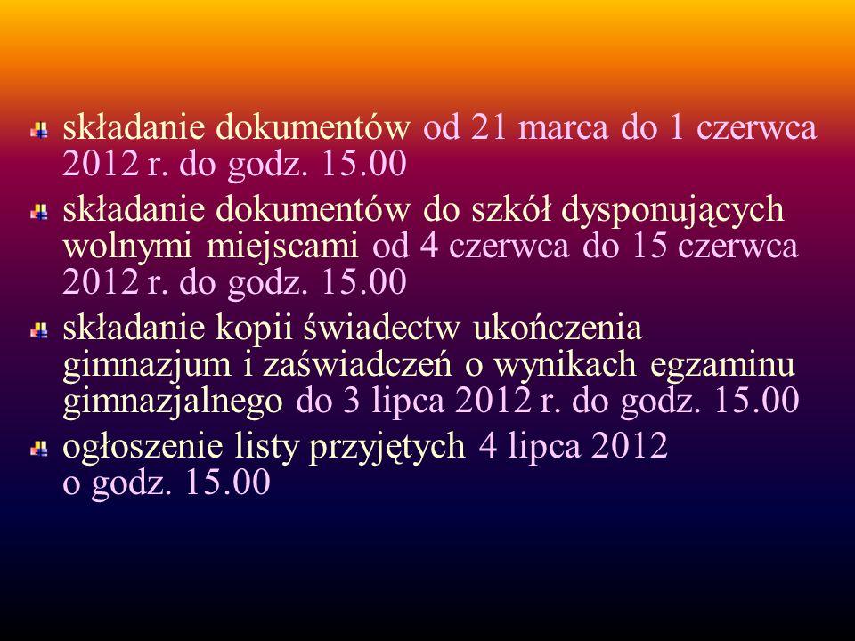 składanie dokumentów od 21 marca do 1 czerwca 2012 r.
