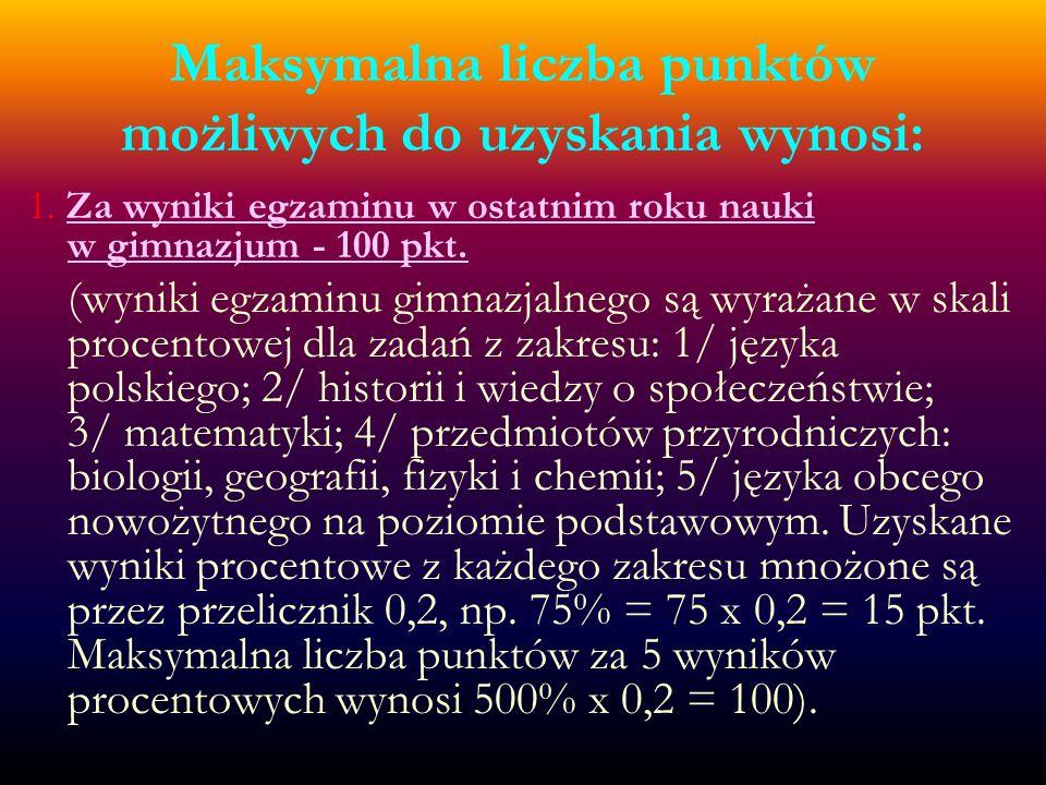 2.Za oceny z języka polskiego i trzech wybranych obowiązkowych zajęć edukacyjnych - 60 pkt.