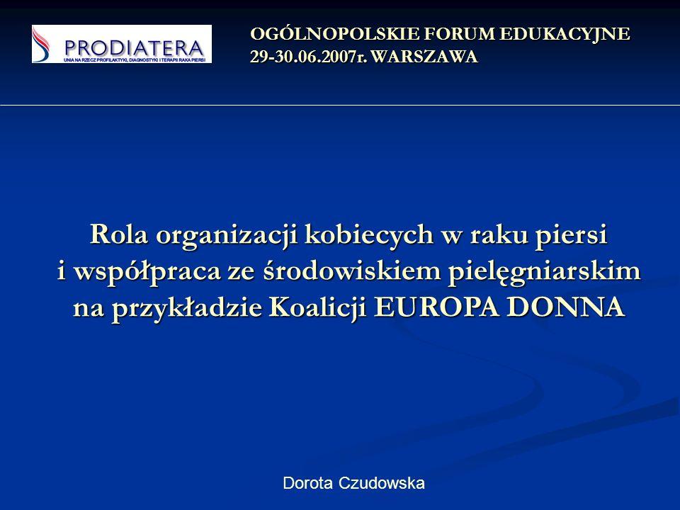 POLSKA ZOSTAŁA ZAPROSZONA DO ZAPREZENTOWANIA SWOJEJ DZIAŁALNOŚCI I OSIĄGNIĘĆ VI Europejska Konferencja EBCC EUROPA DONNA Cypr 2003r.