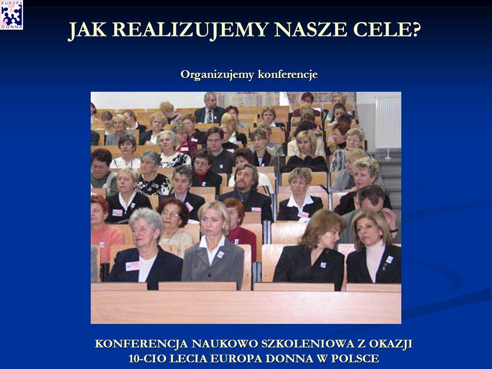 KONFERENCJA NAUKOWO SZKOLENIOWA Z OKAZJI 10-CIO LECIA EUROPA DONNA W POLSCE Organizujemy konferencje JAK REALIZUJEMY NASZE CELE