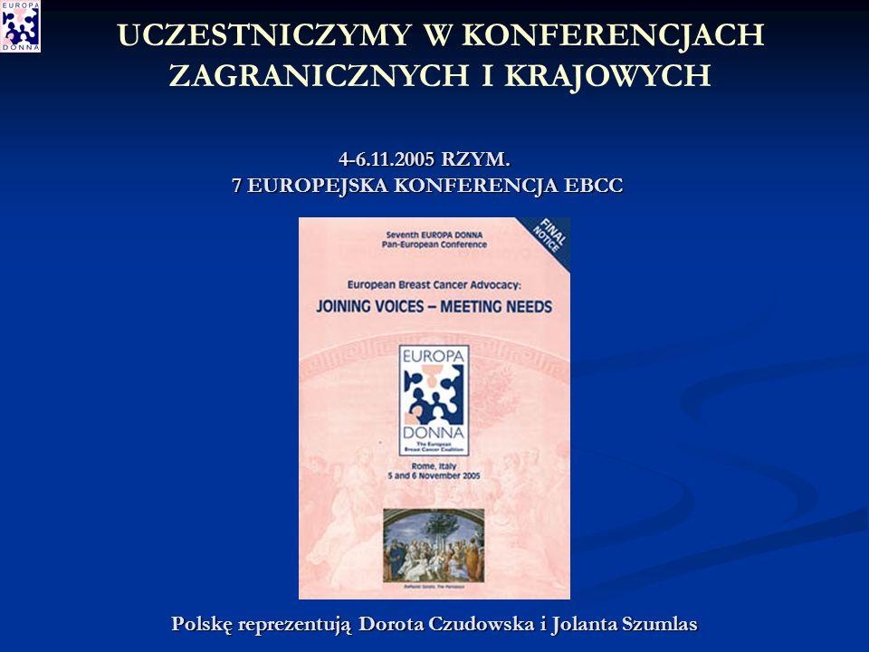 Polskę reprezentują Dorota Czudowska i Jolanta Szumlas UCZESTNICZYMY W KONFERENCJACH ZAGRANICZNYCH I KRAJOWYCH 4-6.11.2005 RZYM.