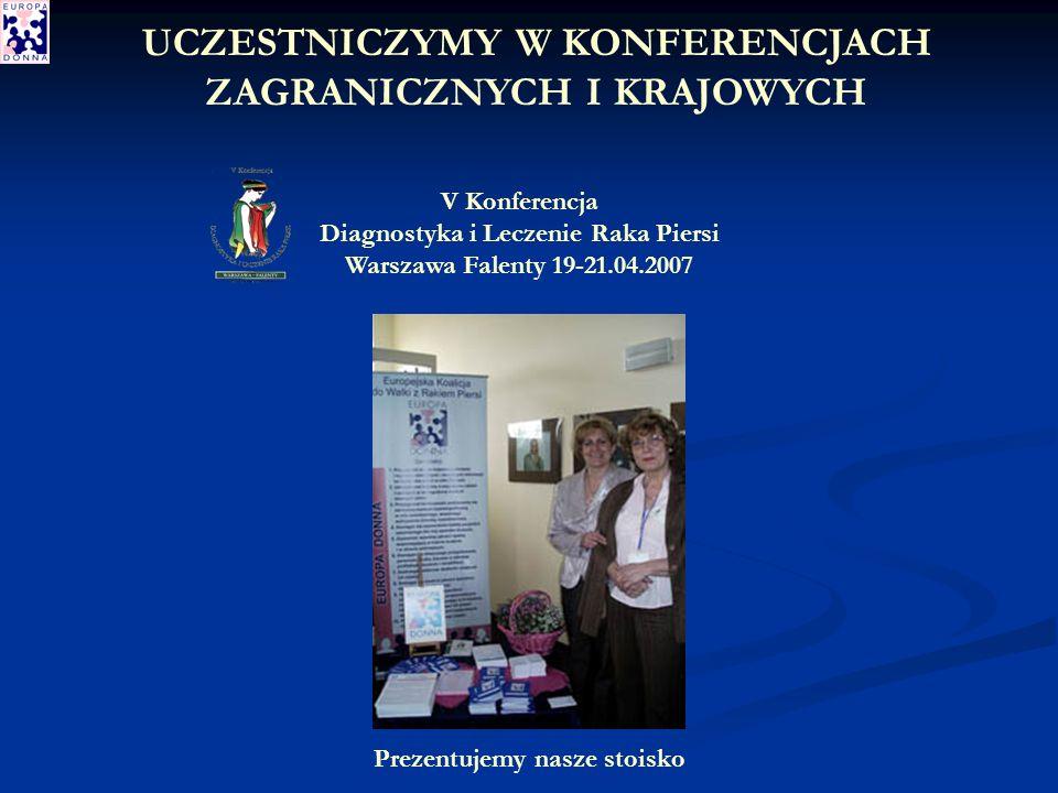 V Konferencja Diagnostyka i Leczenie Raka Piersi Warszawa Falenty 19-21.04.2007 Prezentujemy nasze stoisko UCZESTNICZYMY W KONFERENCJACH ZAGRANICZNYCH I KRAJOWYCH
