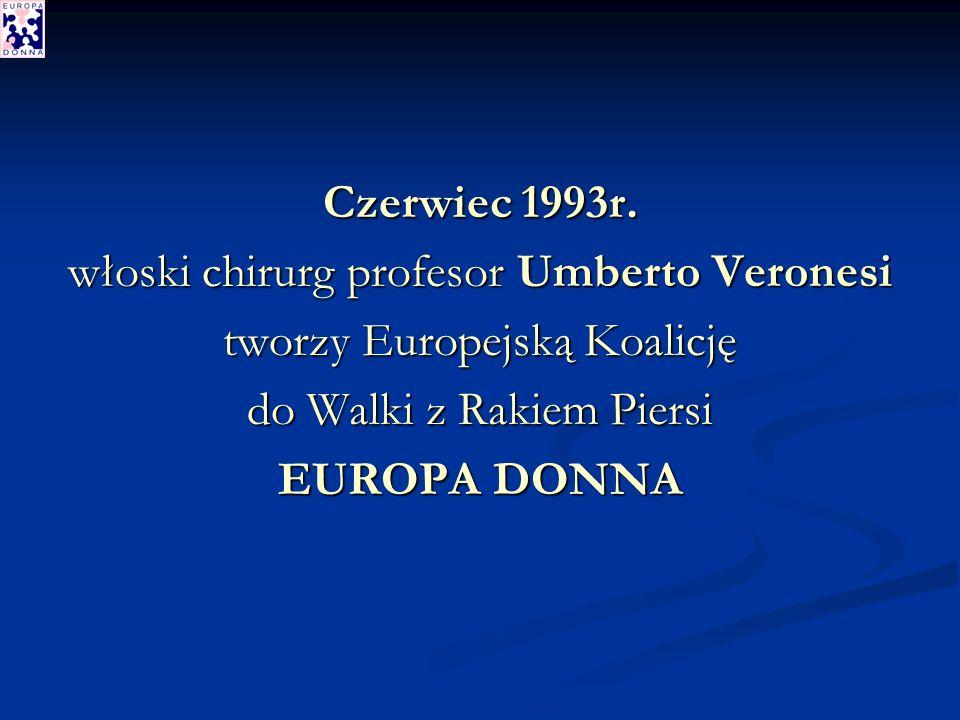 Prof.Umberto Veronesi Gloria Freilich Dr Alberto Costa 1994r.