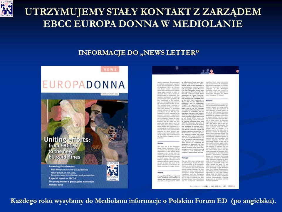 INFORMACJE DO NEWS LETTER Każdego roku wysyłamy do Mediolanu informacje o Polskim Forum ED (po angielsku).