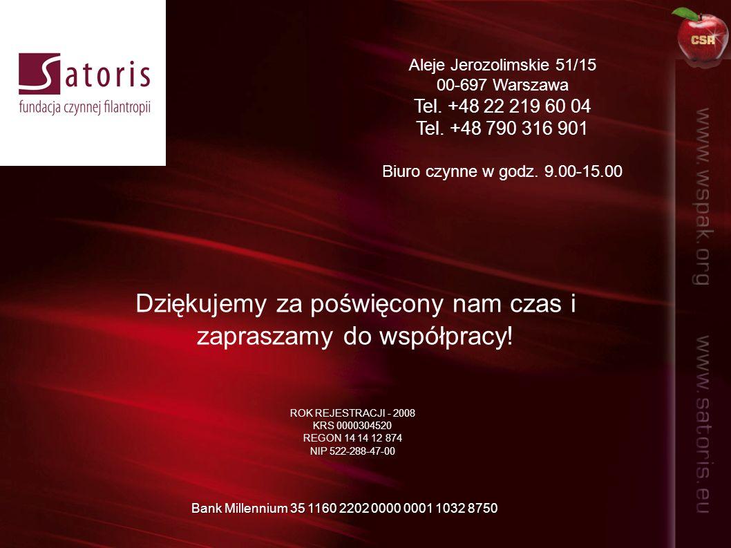 Aleje Jerozolimskie 51/15 00-697 Warszawa Tel. +48 22 219 60 04 Tel. +48 790 316 901 Biuro czynne w godz. 9.00-15.00 Dziękujemy za poświęcony nam czas