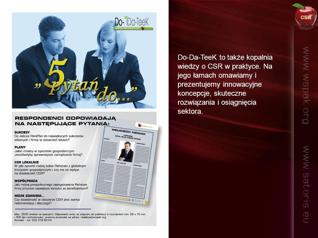 Celem magazynu Do-Da-TeeK jest propagowanie CSR w Polsce.