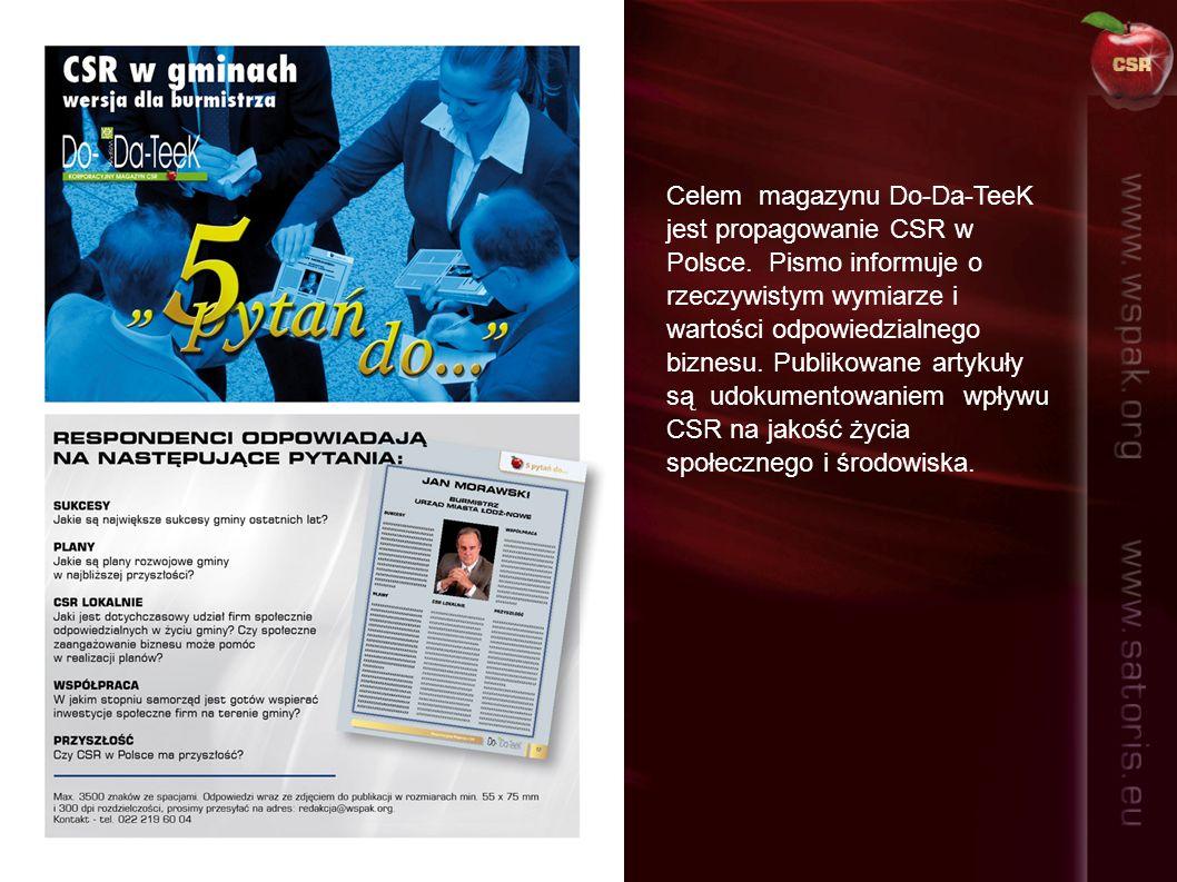 Celem magazynu Do-Da-TeeK jest propagowanie CSR w Polsce. Pismo informuje o rzeczywistym wymiarze i wartości odpowiedzialnego biznesu. Publikowane art