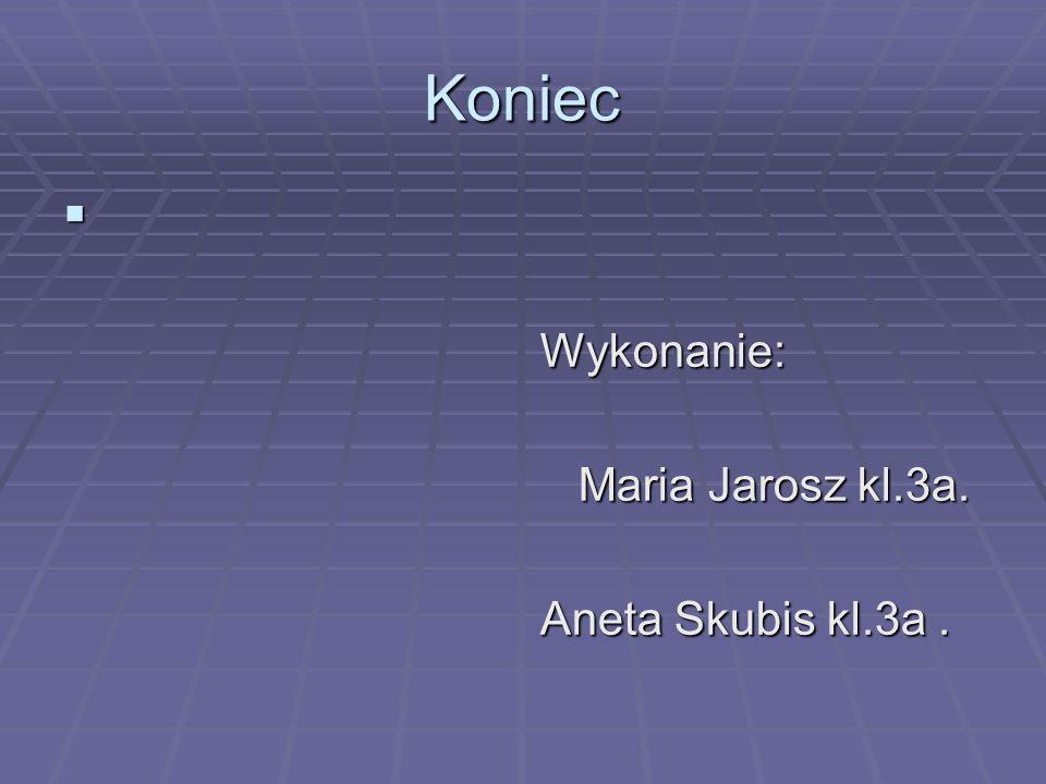 Koniec Wykonanie: Wykonanie: Maria Jarosz kl.3a. Maria Jarosz kl.3a. Aneta Skubis kl.3a. Aneta Skubis kl.3a.