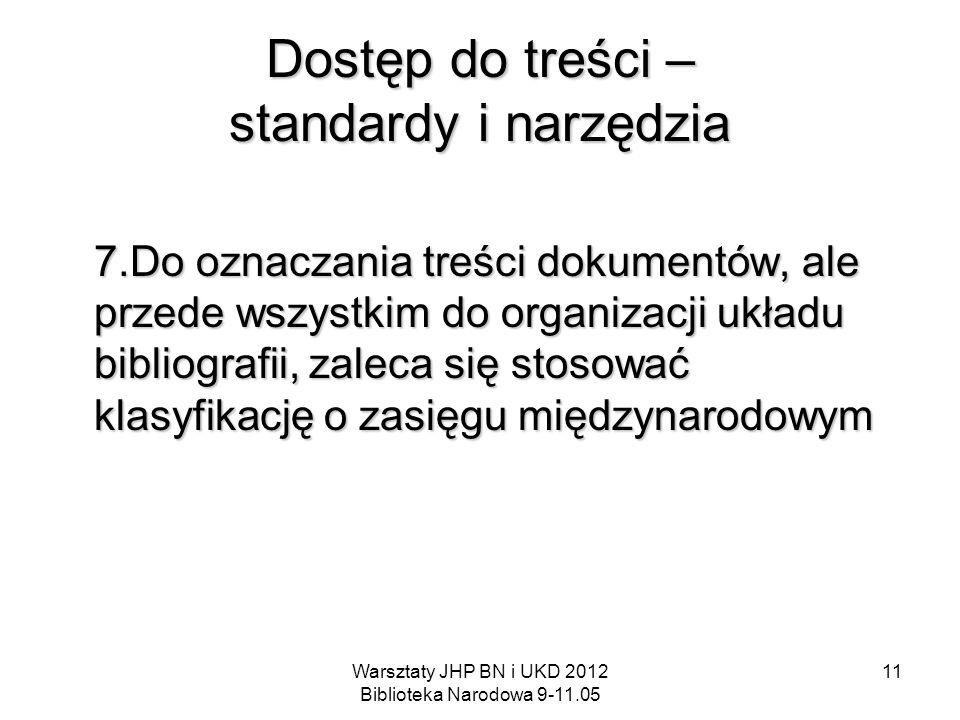 Warsztaty JHP BN i UKD 2012 Biblioteka Narodowa 9-11.05 11 Dostęp do treści – standardy i narzędzia 7.Do oznaczania treści dokumentów, ale przede wszy