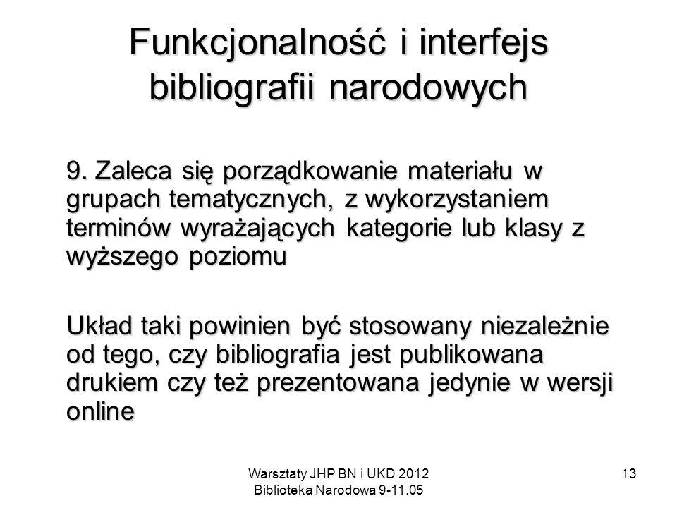 Warsztaty JHP BN i UKD 2012 Biblioteka Narodowa 9-11.05 13 Funkcjonalność i interfejs bibliografii narodowych 9. Zaleca się porządkowanie materiału w