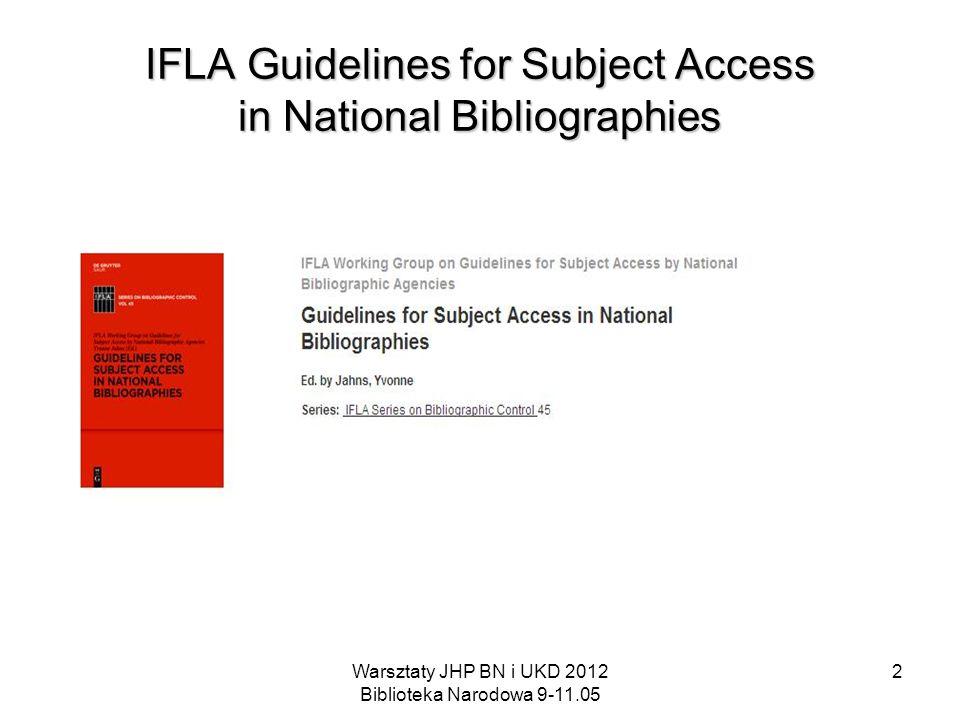 Warsztaty JHP BN i UKD 2012 Biblioteka Narodowa 9-11.05 2 IFLA Guidelines for Subject Access in National Bibliographies